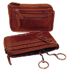 Leather Key Case with 3 zip pockets - Brown