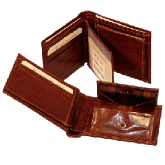 Leather wallet with coin pocket with snap closure - Brown