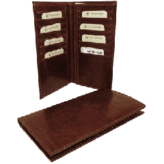 Cowhide leather bifold wallet - Brown