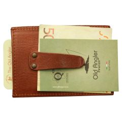 Leather card holder with paperweight spring - Brown