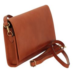 Full grain calfskin shoulder bag . Brown coloniale
