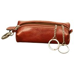 Leather Key Chain with zip closure - Brown