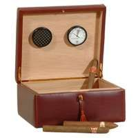 Leather Cigar Humidor - Brown