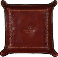 Cowhide leather desk tray - Brown