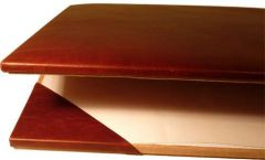 Cowhide leather desk pad - Brown
