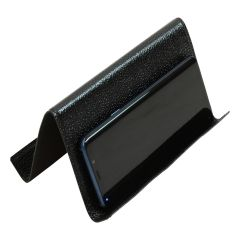 Leather ipad and iphone stand - black