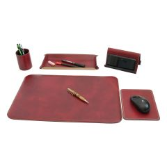 Leather desk kit - 5 pcs  red