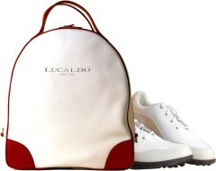 Selective leather Shoe Bag - Red/White